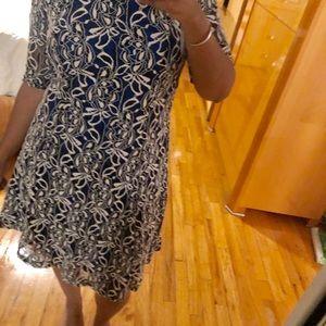 Tiana B. Blue & White Lace Knee Length Dress